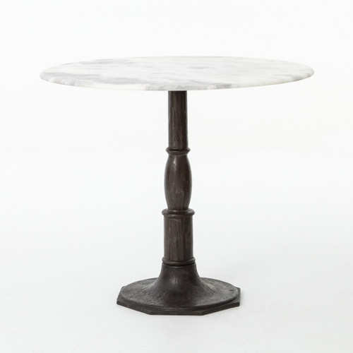 Charmant ... French Industrial White Marble Top Round Bistro Table · Alondra Classic  Cast Iron Marble Round Dining Table ...