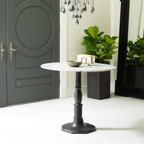 Marble Bistro Accent Table: French Industrial White Marble Top Round Bistro Table 36