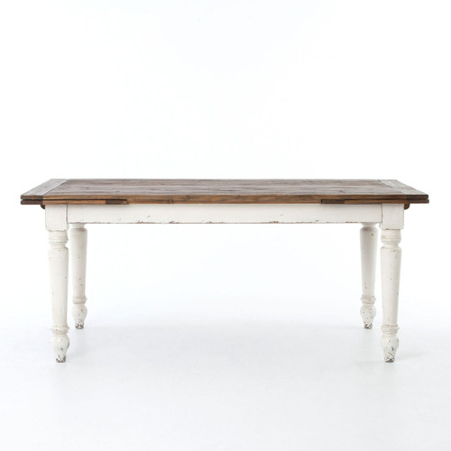 Cottage Reclaimed Wood White Expanding Dining Rom Table Zin Home - Expanding conference table