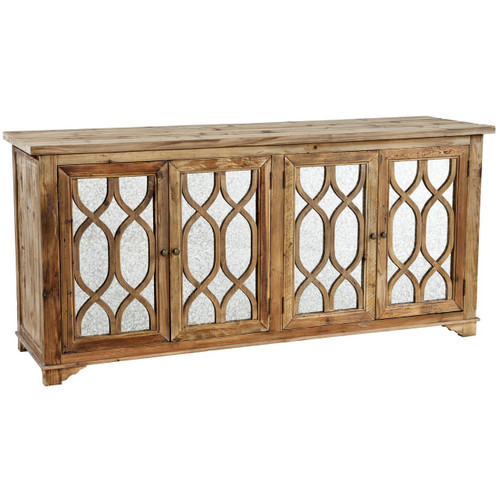 French Lattice Reclaimed Wood 4 Door Mirrored Sideboard