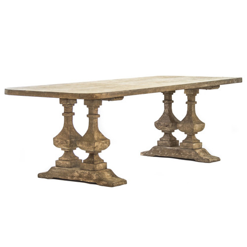 Malena Natural Wood Double Trestle Dining Table Zin Home - Double trestle dining table