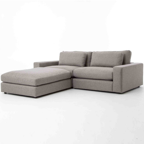 Bloor Gray Contemporary 3 Piece Small Sectional Sofa ...