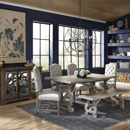 """French Farmhouse Kitchen Table french farmhouse grey dining table 78"""" 