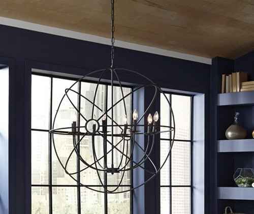 Industrial iron orb chandelier 36 with 8 lights zin home industrial metal orb chandelier with 8 lights aloadofball Image collections