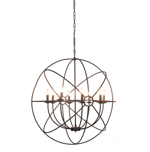Industrial iron orb chandelier 36 with 8 lights zin home industrial iron orb chandelier with 8 light mozeypictures Images