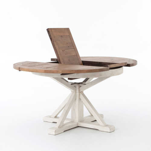 ... White Round Extendable Dining Table With Natural Table Top ...