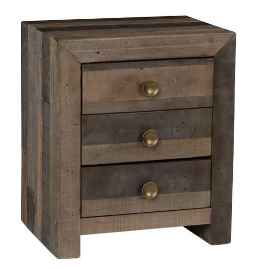 Angora Storm Reclaimed Wood 3 Drawer Nightstand