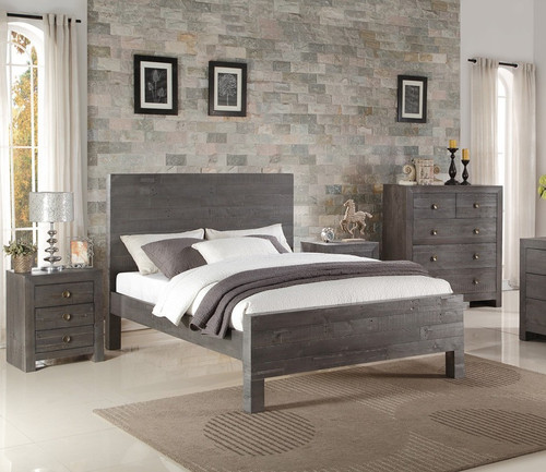 Angora Ash Gray Reclaimed Wood California King Bed Zin Home