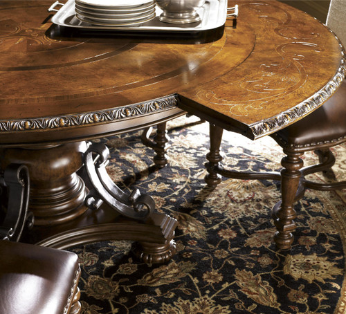 Seville Marquetry Expandable Round Pedestal Dining Table; Spanish Furniture  Round Expandable Dining Tables ...