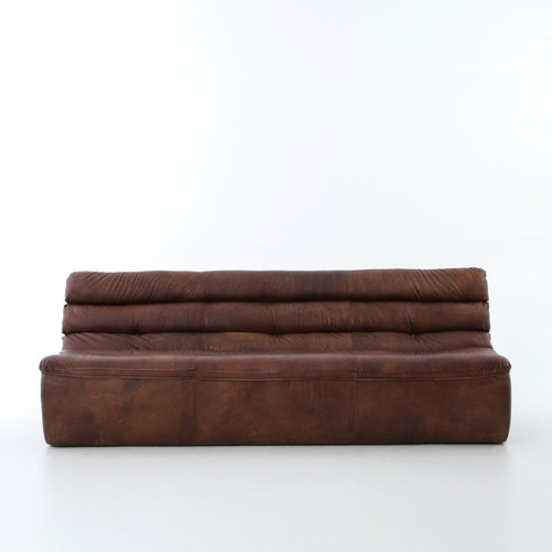 Magna Antique Whiskey Leather 3 Seater Armless Sofa Zin Home