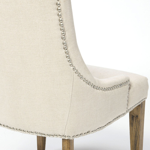 Ashford Linen Upholstered Nailhead Dining Chair Zin Home