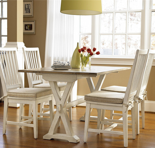 Coastal Beach White Oak Drop Leaf Small Kitchen Table