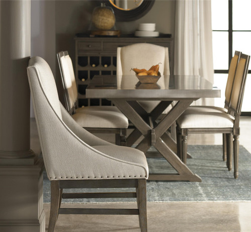 Dining Arm Chairs French Oak Nailhead Fabric Armchair