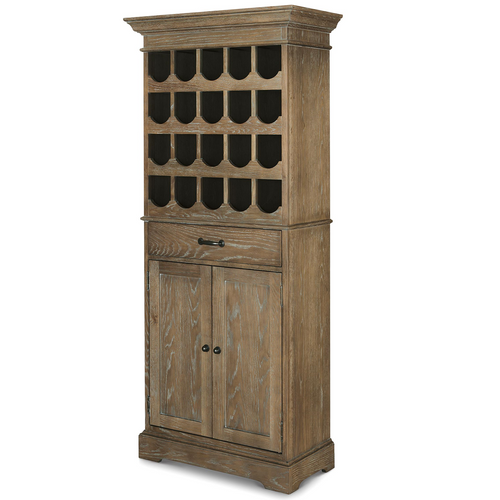 French Weathered Oak Tall Wine Bar Cabinet