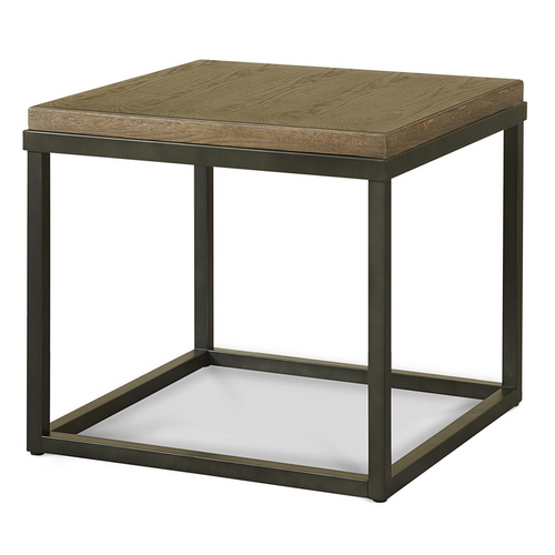 Gentil French Industrial Oak Wood + Metal Square End Table ...