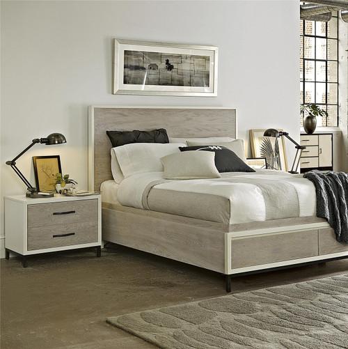 modern gray platform storage bedroom set queen zin home. Black Bedroom Furniture Sets. Home Design Ideas