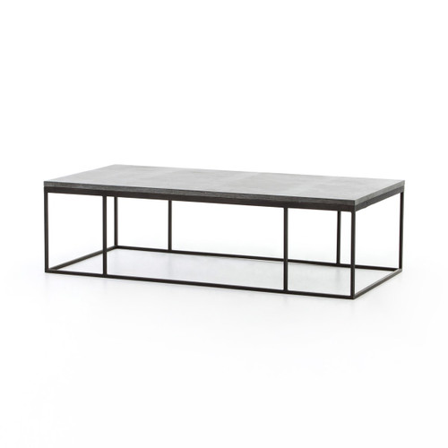 French Industrial Iron + Bluestone Top Coffee Table