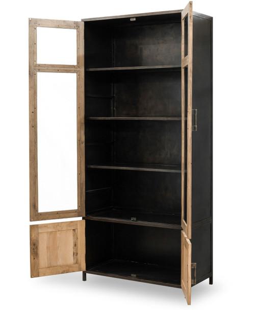 Dominic Industrial Metal Oak Tall Cabinet With Glass Doors Zin Home