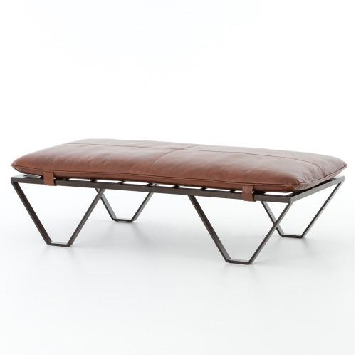 Beautiful Darrow Tan Leather Ottoman With Geometric Metal Legs ...