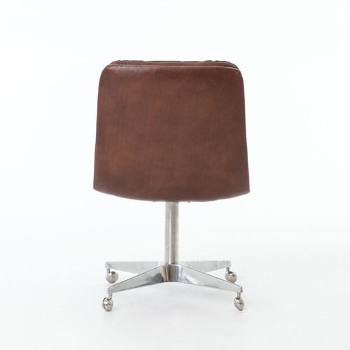 malibu distressed whiskey leather office desk chair zin home