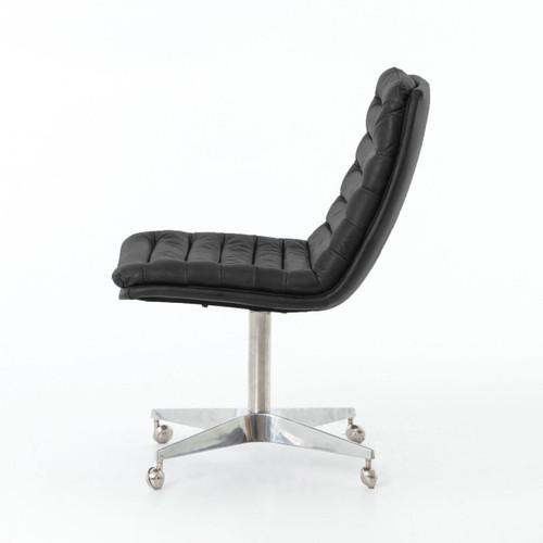 Malibu Distressed Black Leather Office Desk Chair Zin Home