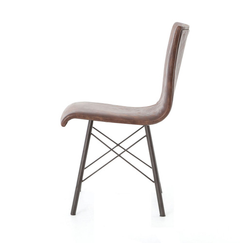 ... Industrial Diaw Distressed Brown Leather Dining Chairs ...