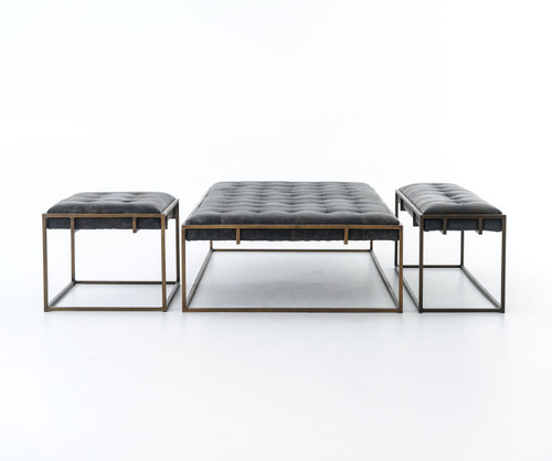 Beau ... Oxford Tufted Black Leather Ottoman Coffee Table Sale ...