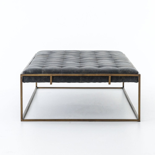 Attrayant ... Modern Oxford Tufted Black Leather Ottoman Coffee Table ...