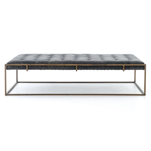 ... Oxford Library Tufted Leather Large Ottoman Coffee Table, Modern ...