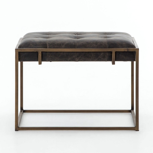 ... Table · Oxford Tufted Black Leather Ottoman With Brass Legs ...