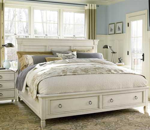 Country-Chic Wood King Size White Storage Bed | Zin Home