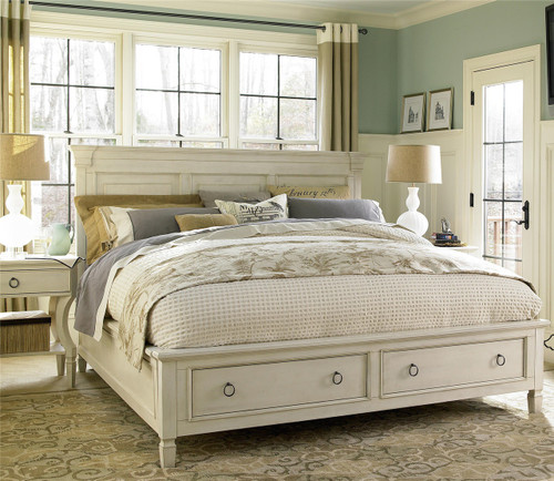 Country chic wood king size white storage bed zin home - White king size bedroom furniture ...