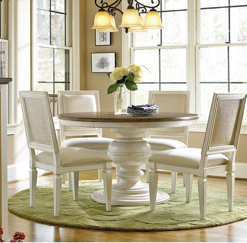 country chic maple wood white round extendable dining table zin home. Black Bedroom Furniture Sets. Home Design Ideas