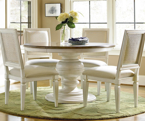 Country Chic Woven Back Upholstered Dining Side Chair