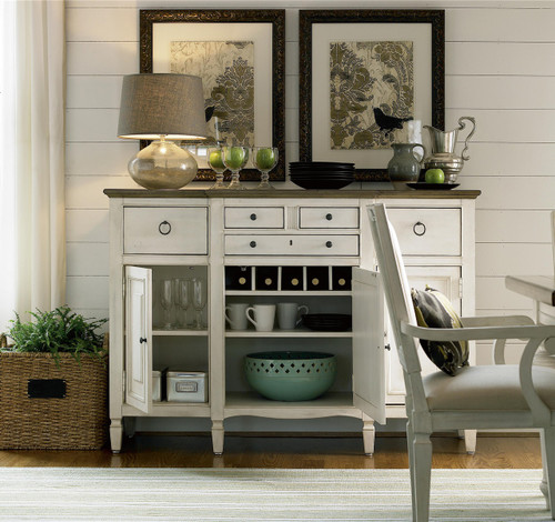 ... Server With Cabinet; Country Chic Maple Wood White Buffet With Wine  Glass Rack ...