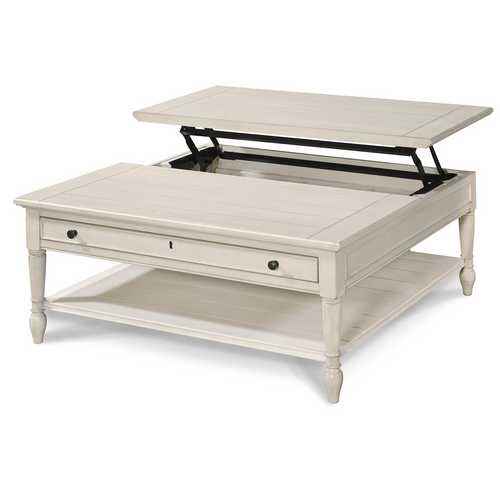Country Chic White Wood Square Coffee Table With Lift Top ...