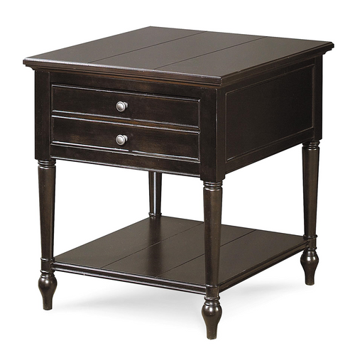 Country-Chic Maple Wood Black 1 Drawer End Table