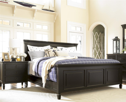 Country-Chic Black Queen Size Panel Bed Frame | Zin Home