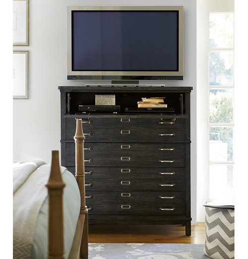 French Modern Dark Wood 5 Drawers Bedroom Media Chest | Zin Home