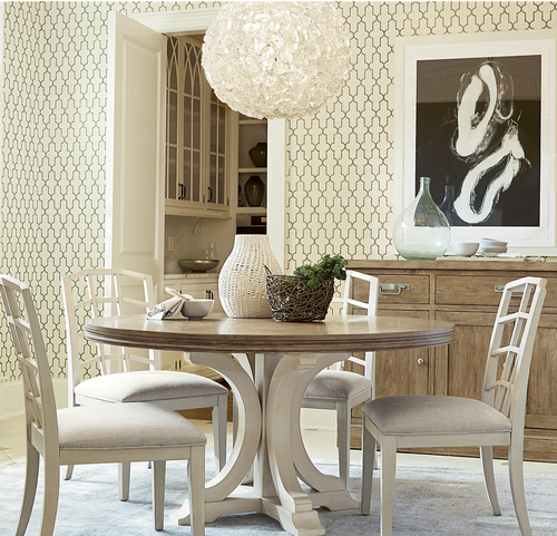 ... French Modern White Wood Pedestal Round Kitchen Table For Sale ...