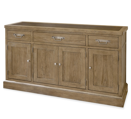 French Modern Light Wood 4 Door Buffet Sideboard with Metal Top