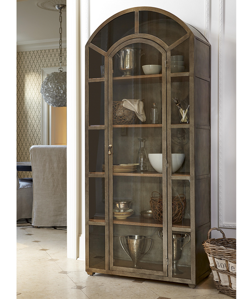 French Modern Industrial Metal And Glass Curio Cabinet; French Modern  Industrial Vintage Metal And Glass Arch Display Cabinet