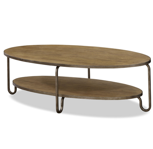 Oval Wooden Coffee Table With Shelf: French Modern Wood + Metal Oval Cocktail Table
