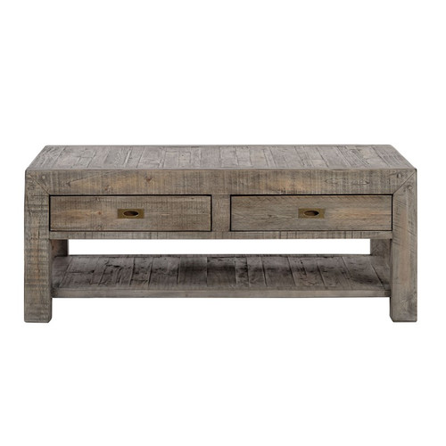 Parsons Reclaimed Wood Rustic Coffee Table With  Drawers Grey