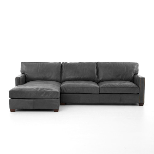 ... Larkin Vintage Black Distressed Leather Sectional Couches ...