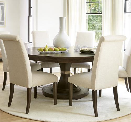 Expandable Dining Room Sets: Coastal Beach White Oak Round Dining Room Set