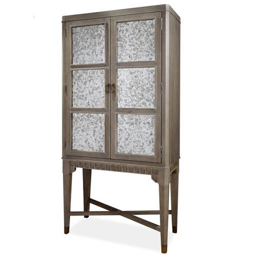 ... Playlist Vintage Grey Oak Antique Mirrored Tall Bar Cabinet ...