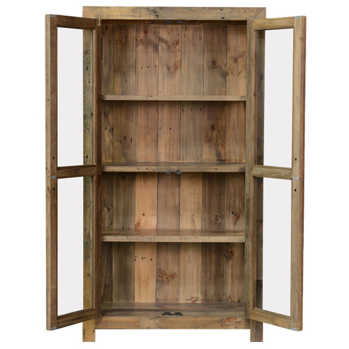 Awesome ... Angora Natural Reclaimed Wood Curio Cabinet With Glass Doors ...