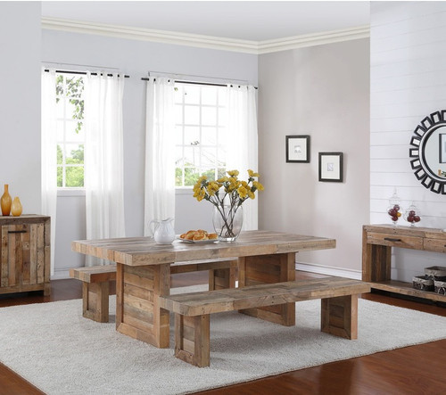 Angora Natural Reclaimed Wood Extending Trestle Dining Table