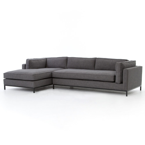 Grammercy Upholstered Modern 2 Piece Sectional Sofa   Charcoal